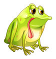 A tired green frog vector image