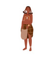 african tribal woman with braids holding bag in vector image vector image