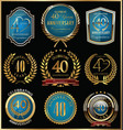anniversary gold and blue labels collection 40 vector image vector image
