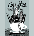 attractions of different countries in a coffee cup vector image vector image