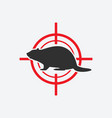 beaver silhouette animal pest icon red target vector image vector image