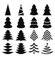 black isolated silhouettes christmas trees vector image