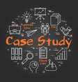 black round case study concept on black chalkboard vector image