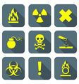 bright yellow color flat style hazardous waste vector image