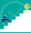 businessman running on stairs to trophy vector image