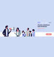 businessman talking megaphone business team leader vector image vector image