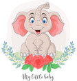cartoon cute elephant sitting with flowers vector image vector image