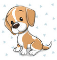 cartoon dog beagle on a white background vector image vector image