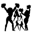 cheerleader silhouettes set vector image