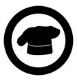chef cooking hat icon black color in circle vector image vector image