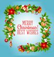 christmas tree and holly garland greeting card vector image vector image