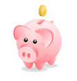 cute pink piggy bank with coin isolated on white vector image