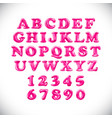 english alphabet and numerals from pink balloons vector image vector image
