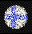finland flag sparkling badge vector image