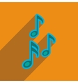 Flat web icon with long shadow musical notes vector image vector image