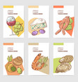 french cuisine hand drawn cards brochure menu vector image vector image