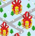 Gift Christmas city seamless pattern Fantastic vector image vector image