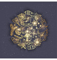 golden christmas doodles - grey vector image vector image