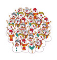 group snowmen isolated on white fashion hipster vector image