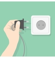 Hand connecting electrical plug vector image