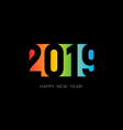happy new 2019 year sign colorful negative space vector image vector image