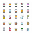 icon set - glass and beverage full-color vector image