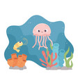 jellyfish shrimp life coral reef cartoon under the vector image vector image