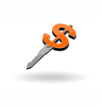key for money and 3d icon vector image vector image