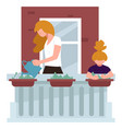 kid helping mom with home chores watering flowers vector image vector image