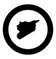 map of syria icon black color in round circle vector image