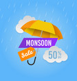 monsoon sale season promotional offers shop vector image vector image
