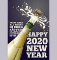 new year banner with champagne bottle vector image vector image