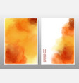 orange and yellow mixed watercolor background set vector image vector image