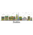 outline dublin ireland city skyline with color vector image vector image