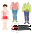 paper doll boy set of formal and casual clothes vector image vector image