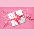 pink gift box realistic confeti and vector image vector image