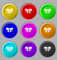 Ribbon Bow icon sign symbol on nine round vector image