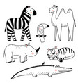 safari animals set vector image vector image