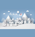 santa claus on the sky coming to city vector image vector image