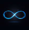 shiny infinity symbol on a dark transparent vector image vector image