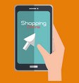 shopping online with smartphone vector image vector image