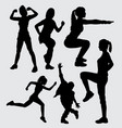 sport male and female silhouette vector image vector image
