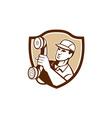 Telephone Repairman Holding Phone Shield vector image vector image