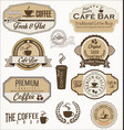vintage coffee labels and badges collection vector image vector image