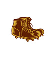Vintage Football Boots Woodcut vector image vector image