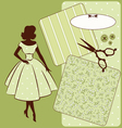Vintage sewing element s with woman vector image vector image