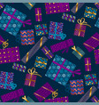 violet and blue xmas gift box seamless pattern vector image vector image