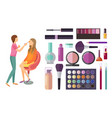 visage and makeup making beauty cosmetics vector image vector image