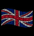 waving united kingdom flag pattern of emergency vector image vector image