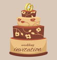 wedding cake decorated with cream rings flowers vector image vector image